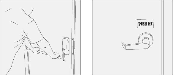Un exemple de l'affordance, la forme de la poigné de porte permet à l'utilisateur de savoir comment il doit s'en servir (pousser ou bien tirer)