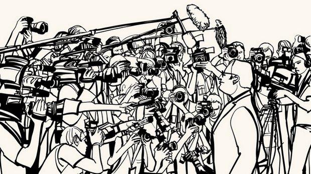 Dessin représentant une personne s'exprimant devant de nombreux journalistes avec micros et caméras