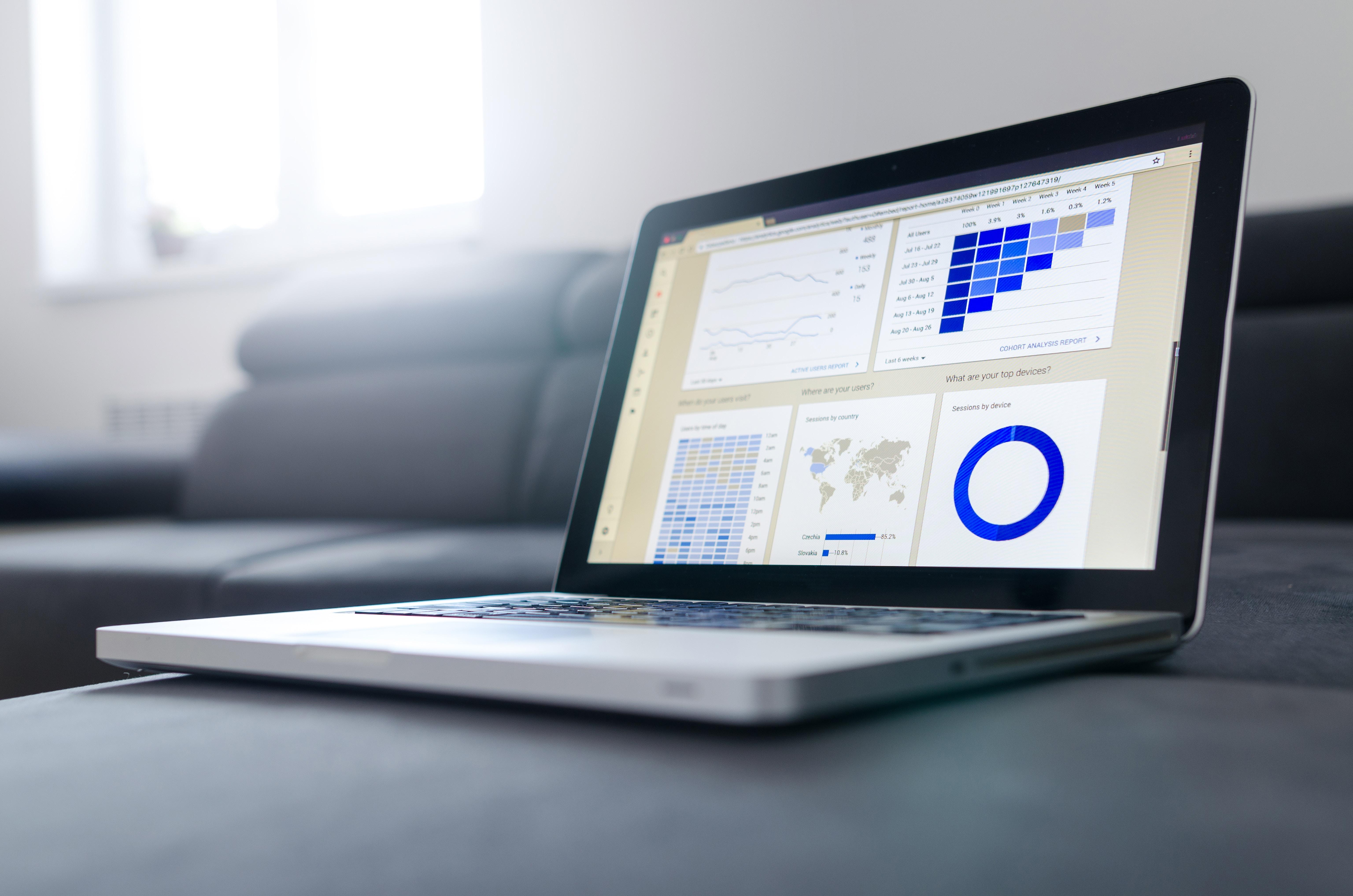 Un ordinateur mac affichant un dashboard avec des diagrammes en liens avec l' UX